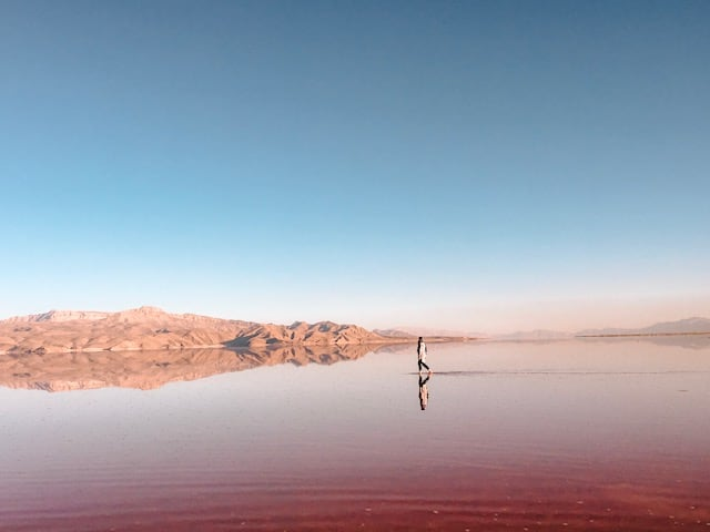 pink lake - traveling to Iran