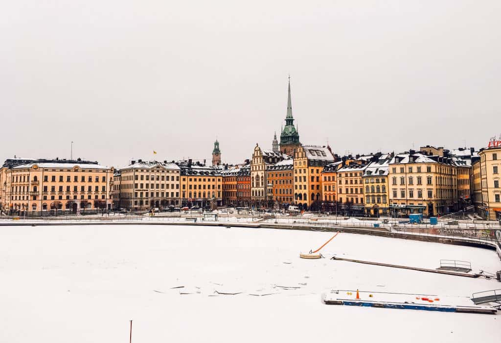 view to snowy Stockholm, yellow houses.